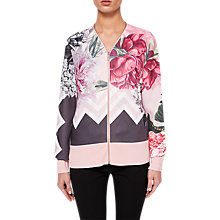 Buy Ted Baker Palace Gardens Zipped Cardigan, Dusty Pink Online at johnlewis.com