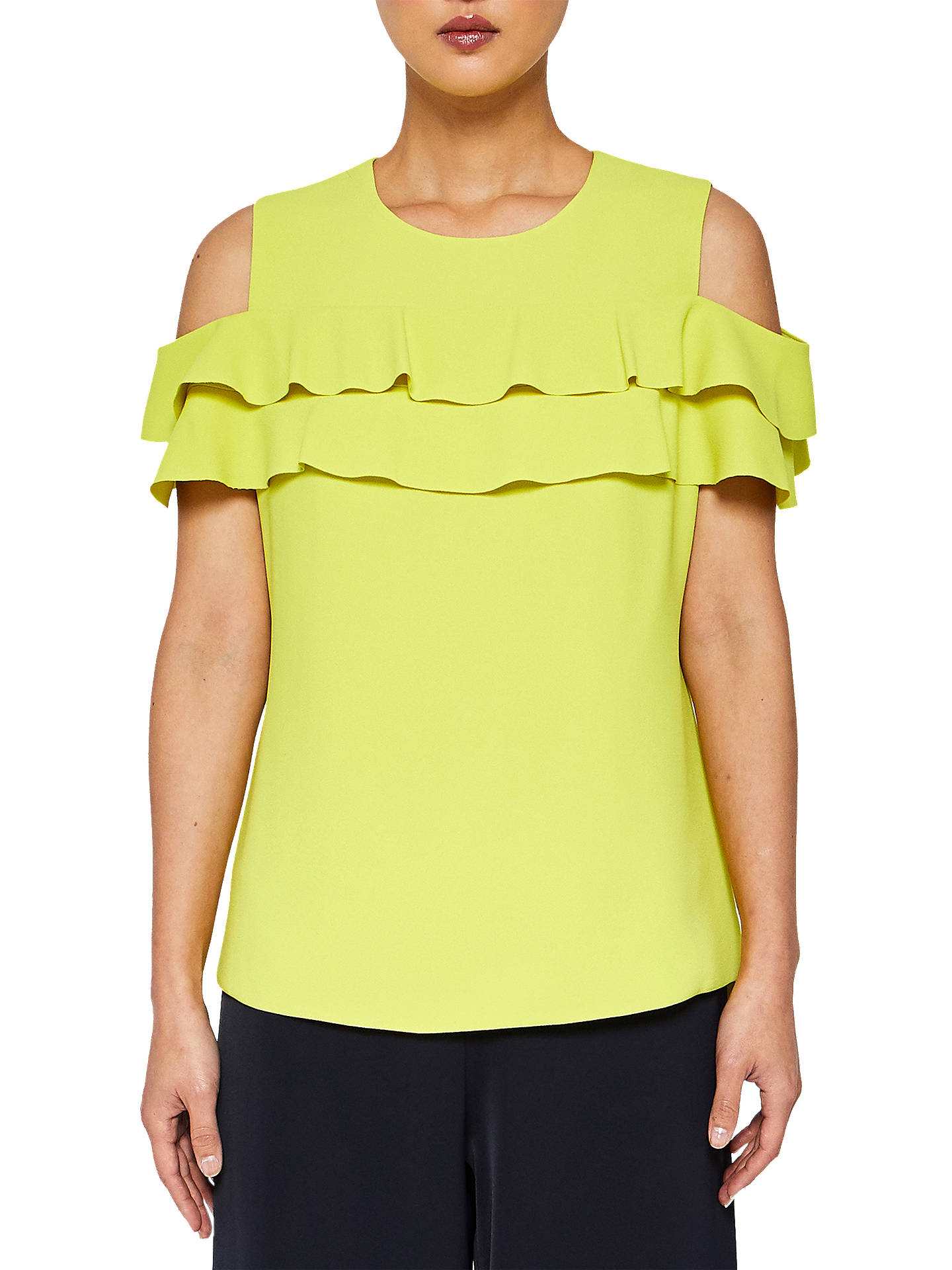85f6a8644d477 Ted Baker Hopee Cold Shoulder Double Frilled Top at John Lewis ...