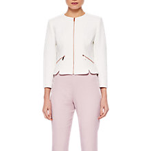 Buy Ted Baker Hapar Shaped Hem Cropped Jacket, White Online at johnlewis.com