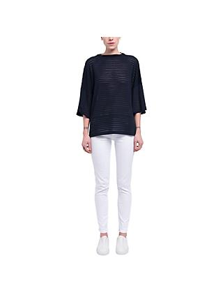 French Connection Beka Sheer Jersey Top, Utility Blue