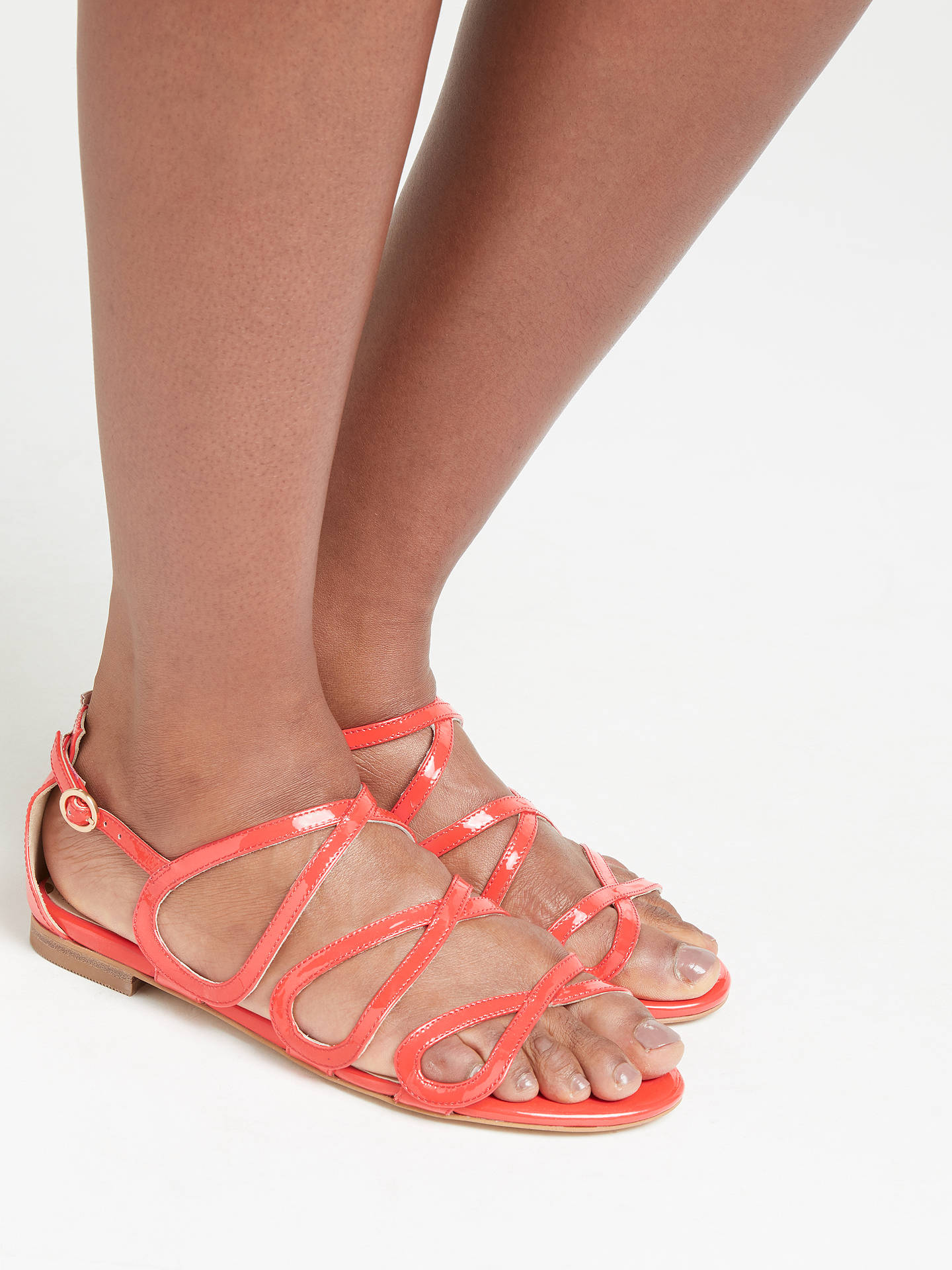 Buy Boden Adela Multi Strap Sandals, Red Leather, 4 Online at johnlewis.com