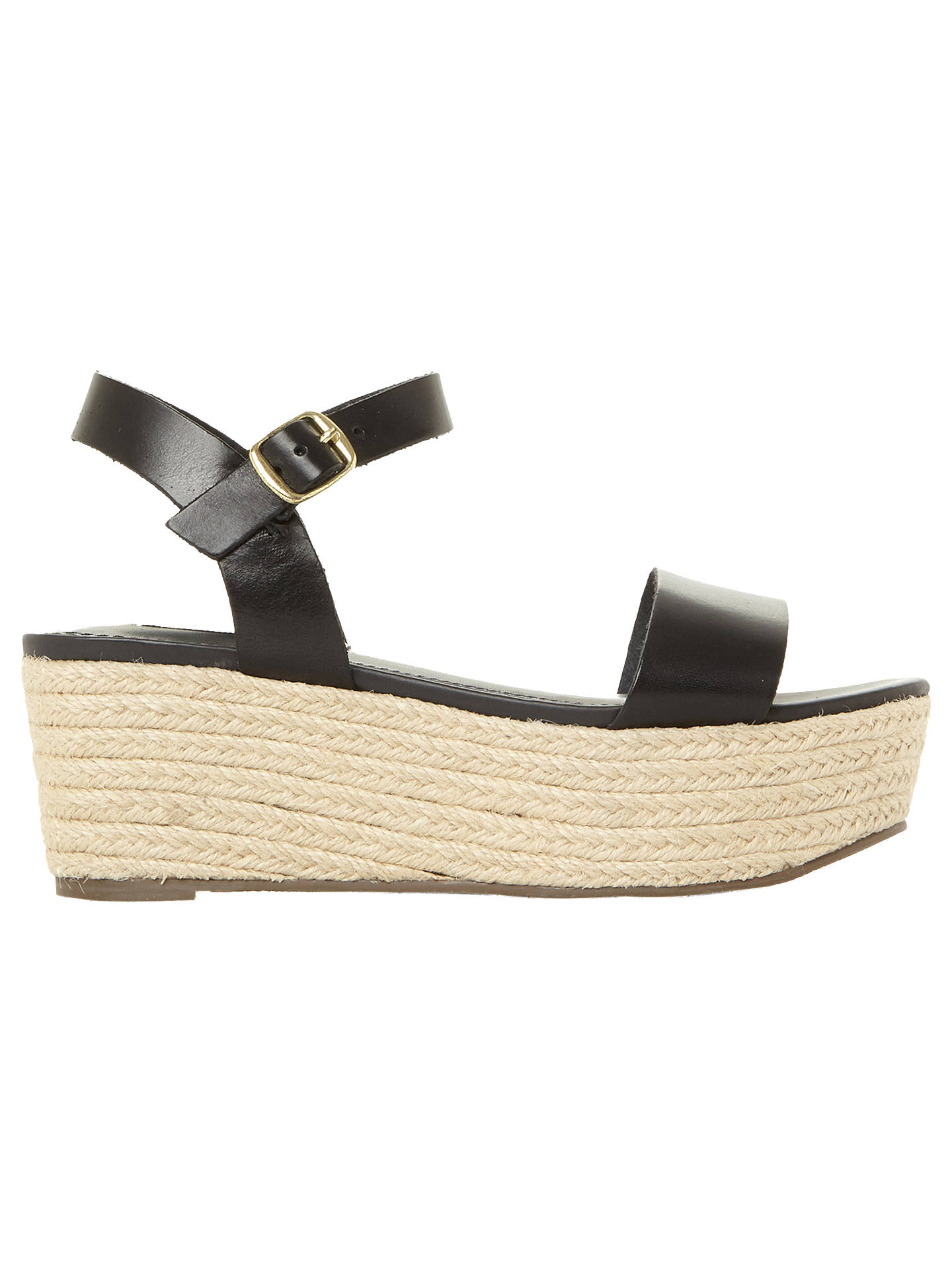 78020a27f Buy Steve Madden Busy Flatform Sandals, Black Leather, 3 Online at  johnlewis.com ...