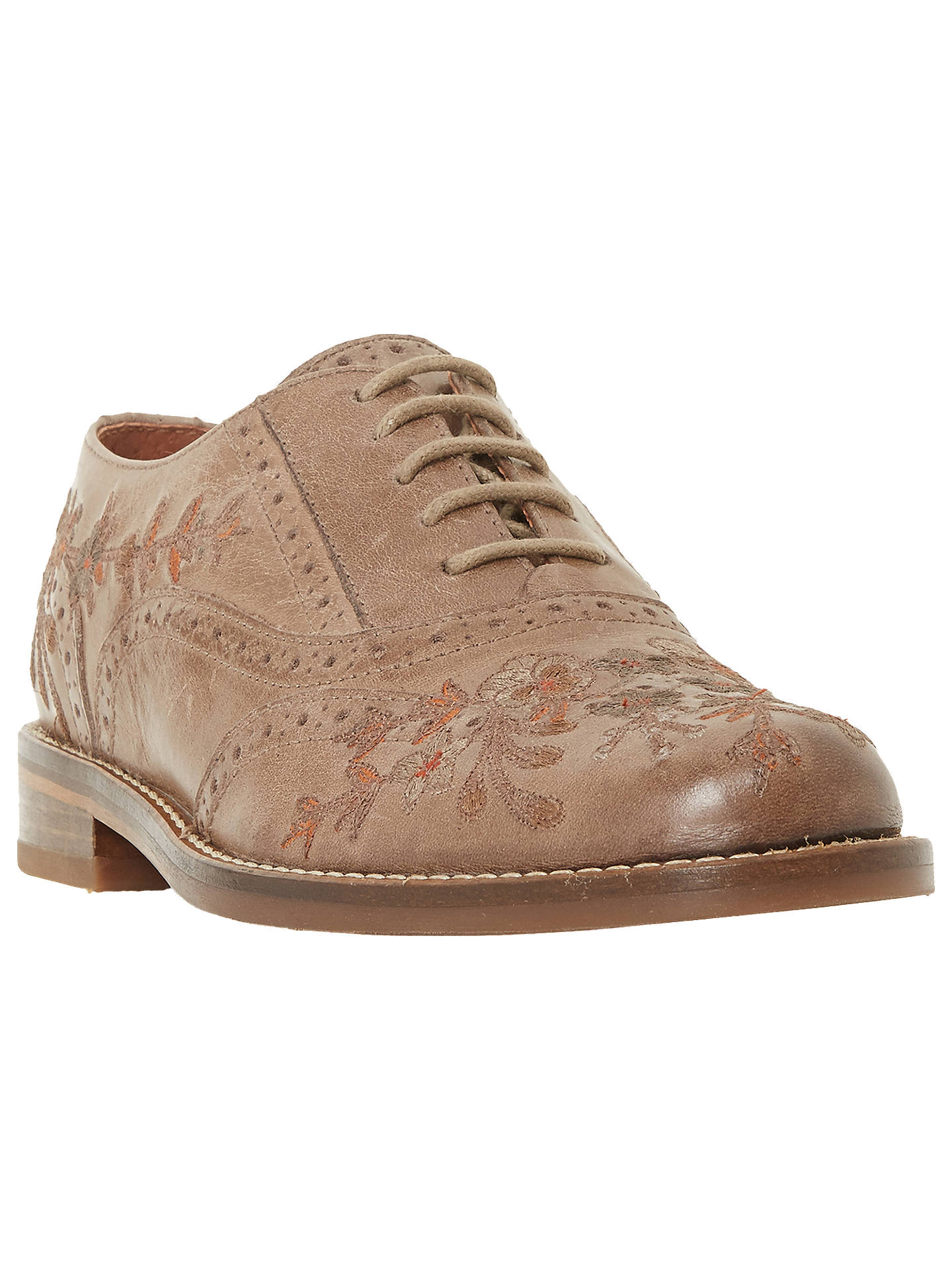 Buy Bertie Fielder Embroidered Brogues, Taupe, 3 Online at johnlewis.com