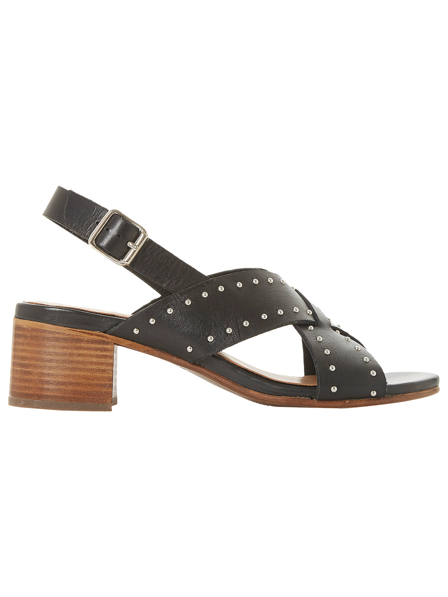 d43455fa679 Bertie Indygo Studded Strap Block Heel Sandals, Black Leather