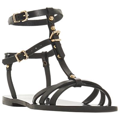 Bertie Leaih Leather T-Bar Sandals, Black