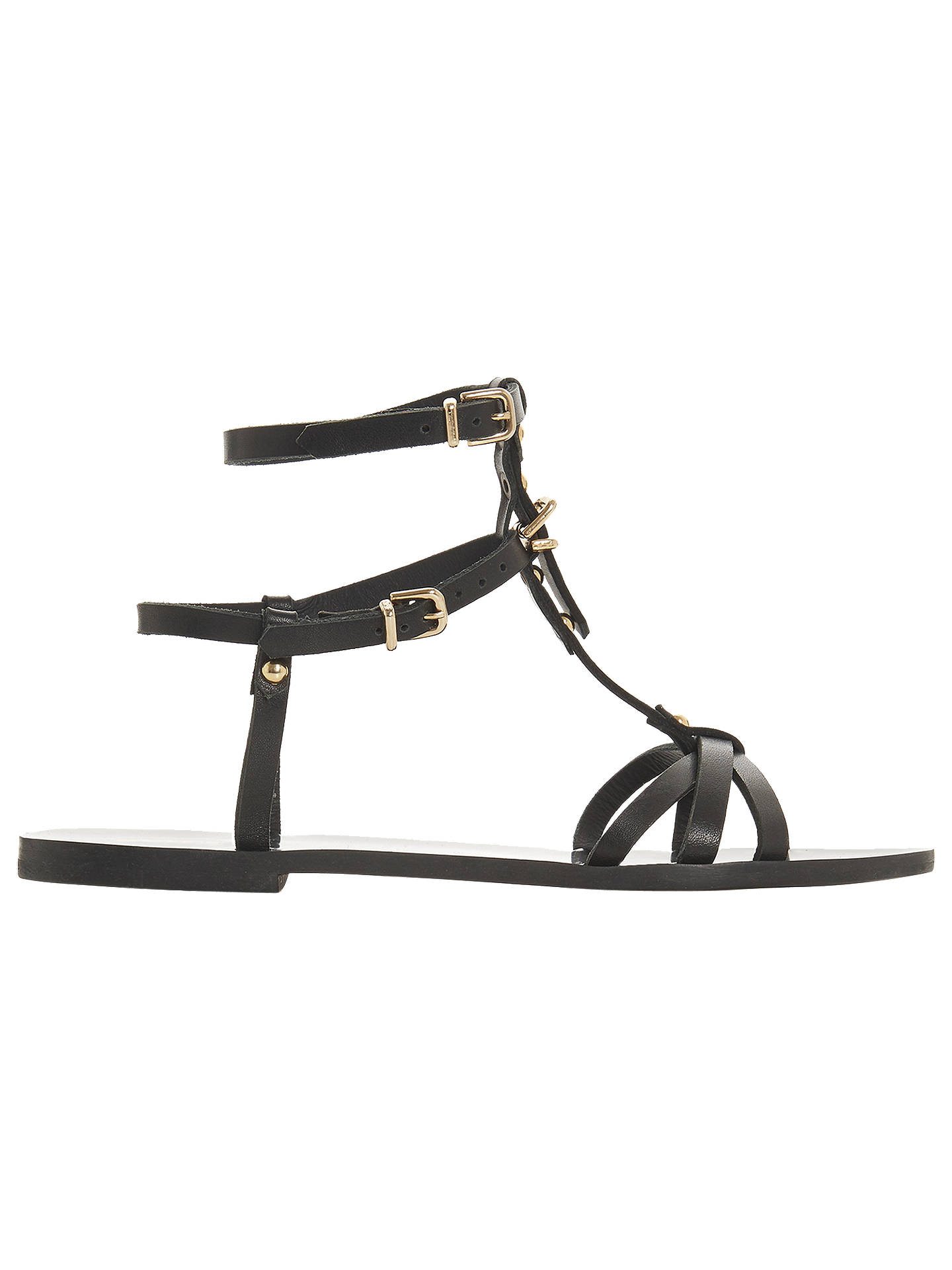 BuyBertie Leaih Leather T-Bar Sandals, Black, 3 Online at johnlewis.com