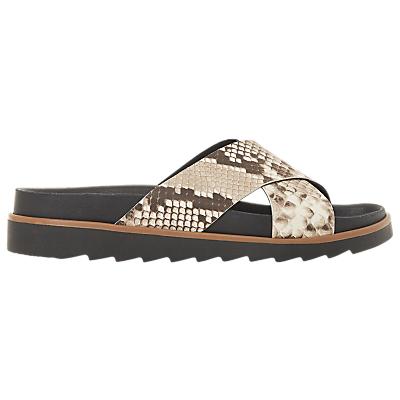 Bertie Lyberty Cross Strap Sandals, Natural/Reptile