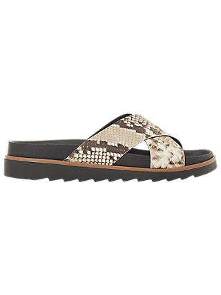 Bertie Lyberty Cross Strap Sandals, Natural/Reptile
