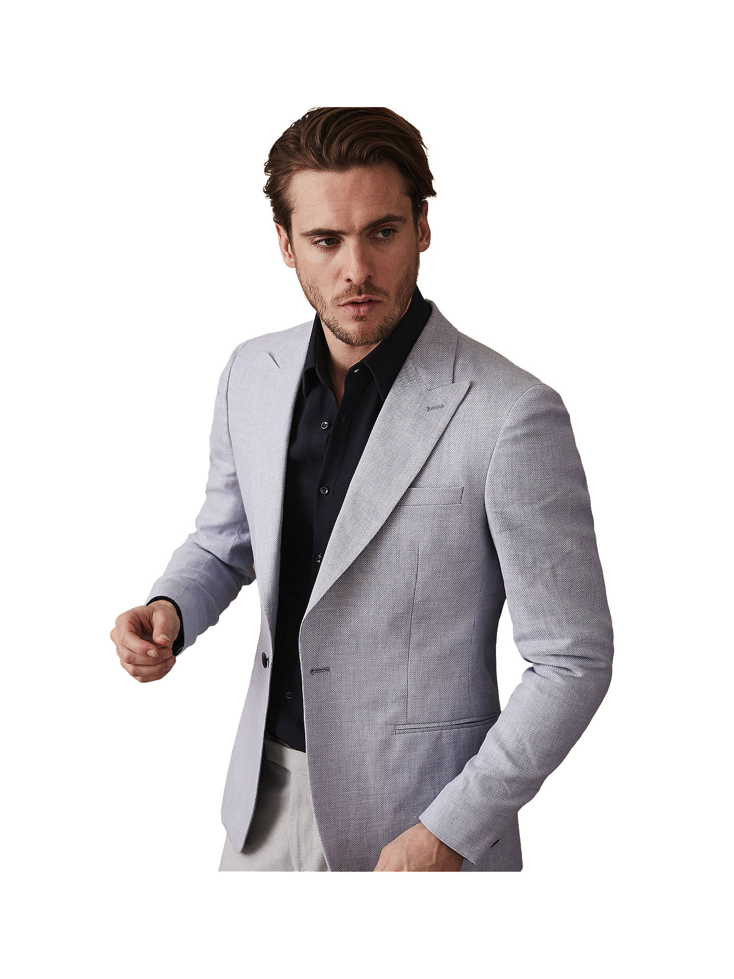 745dc91faaaad Reiss Jaydon Slim Fit Blazer, Light Grey at John Lewis & Partners