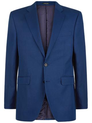 Jaeger Silk Linen Regular Fit Suit Jacket, Blue