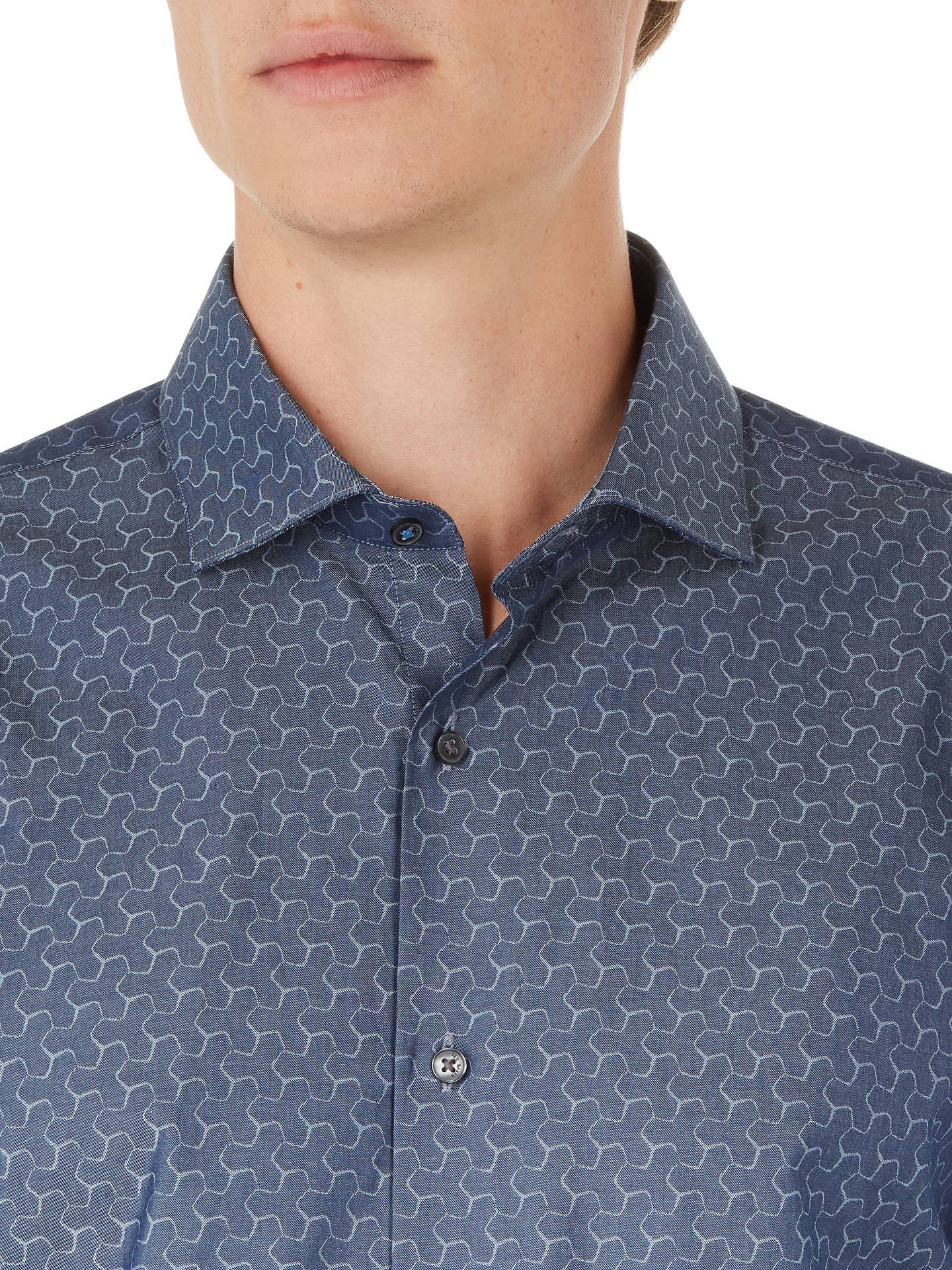 BuyTed Baker Dusks Geo Print Shirt, Grey, 15 Online at johnlewis.com