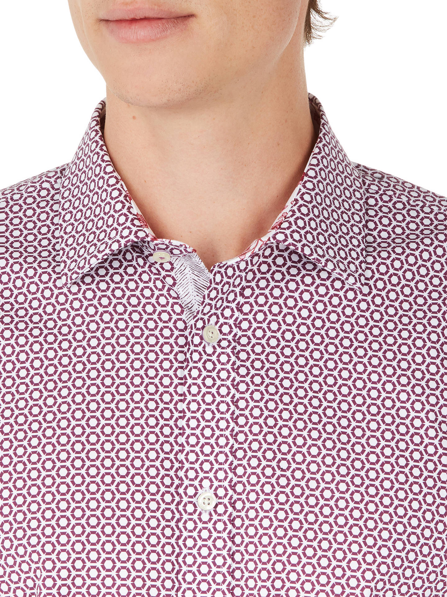 Buy Ted Baker Pramm Hexagonal Print Shirt, Pink, 15.5 Online at johnlewis.com