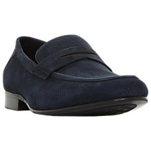 Buy Dune Palazzo Suede Penny Loafers, Navy Online at johnlewis.com