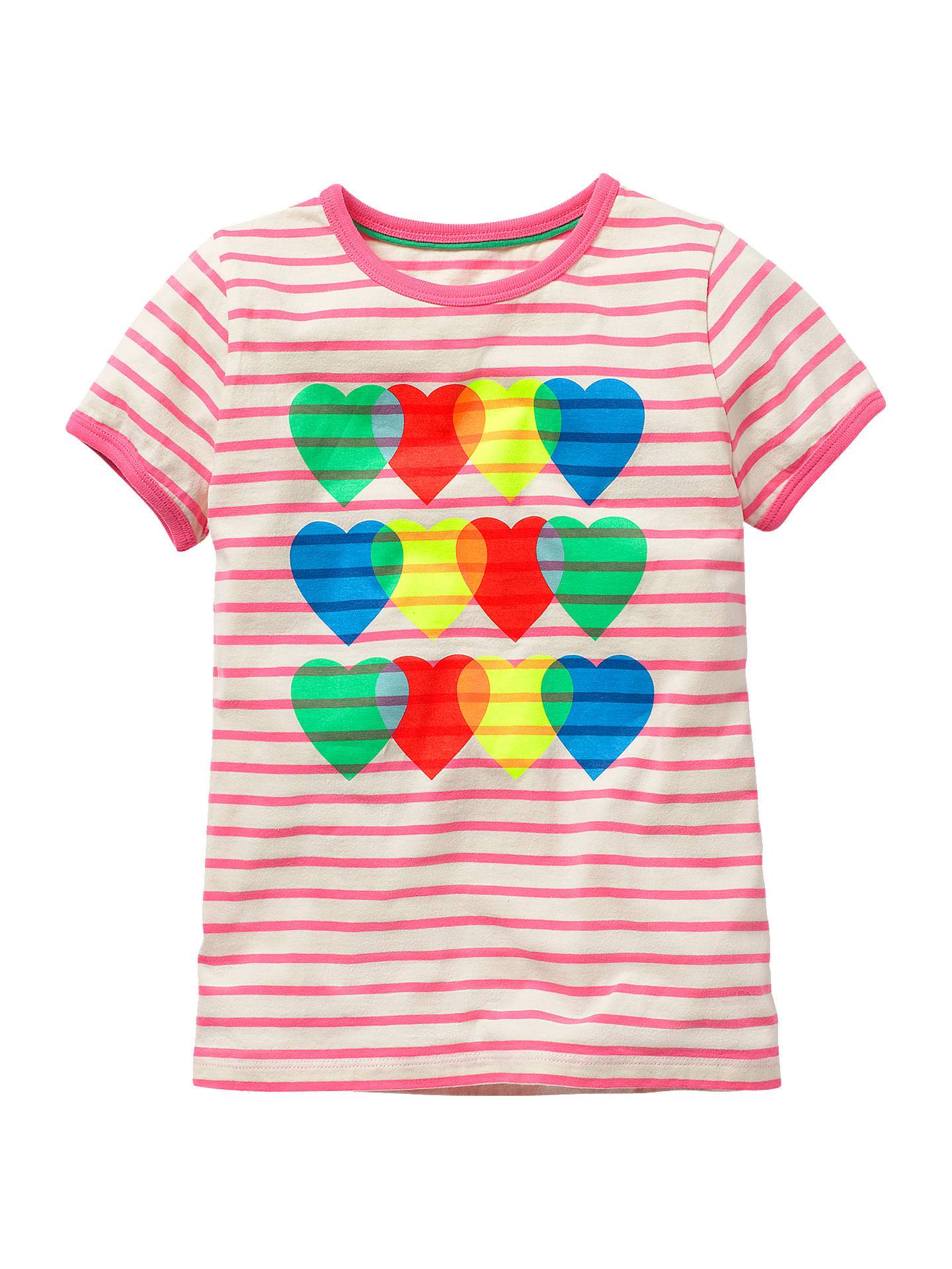 23b06c4a2 Mini Boden Girls' Heart and Stripe T-Shirt, Pink at John Lewis ...