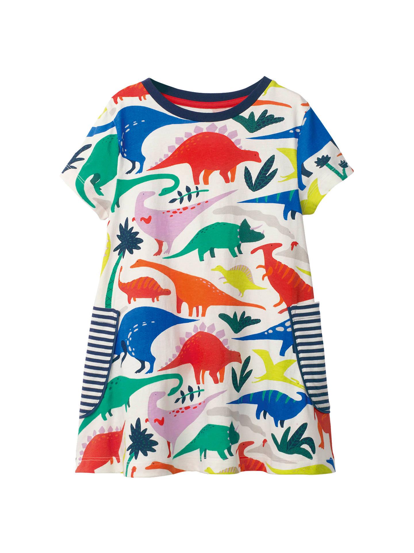 243139798e2b4 Mini Boden Girls' Colourful Dinosaur Print Tunic Dress, Multi at ...