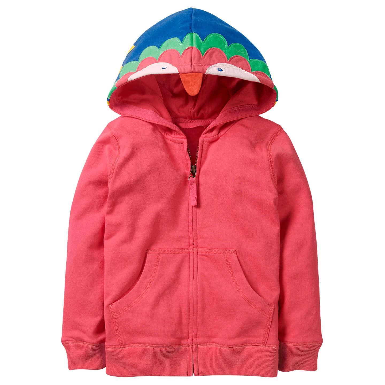 Mini Boden Girls' Parrot Zip Through Hoodie, Pink by Mini Boden