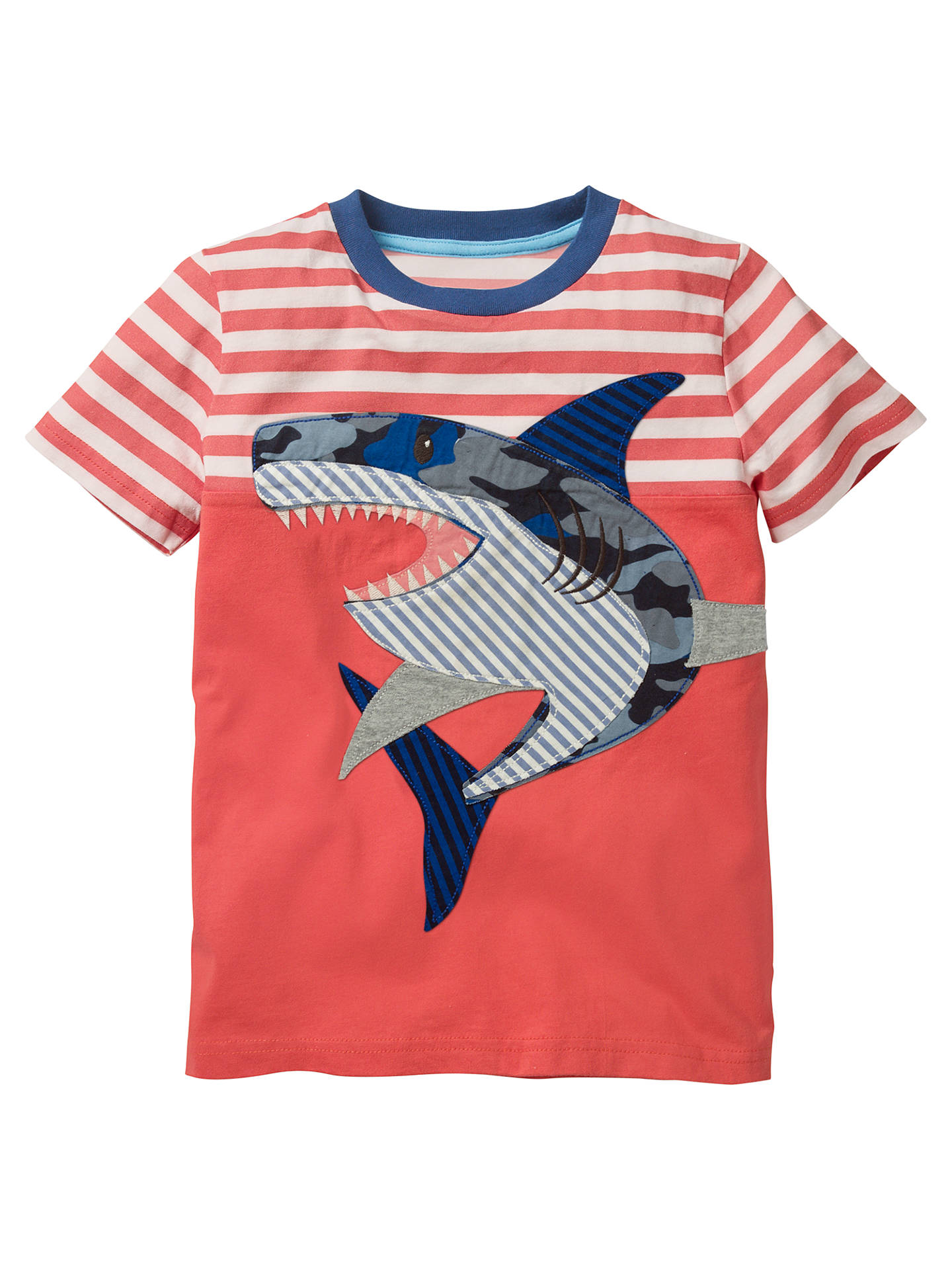 a4d3fed0b6 Mini Boden Boys' Striped Applique Shark T-Shirt, Red at John Lewis ...