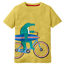 Buy Mini Boden Boys' Bicycle Crocodile Applique T-Shirt, Yellow Online at johnlewis.com