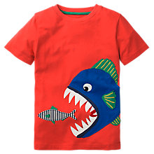 Buy Mini Boden Boys' Big Fish Applique T-Shirt, Red Online at johnlewis.com