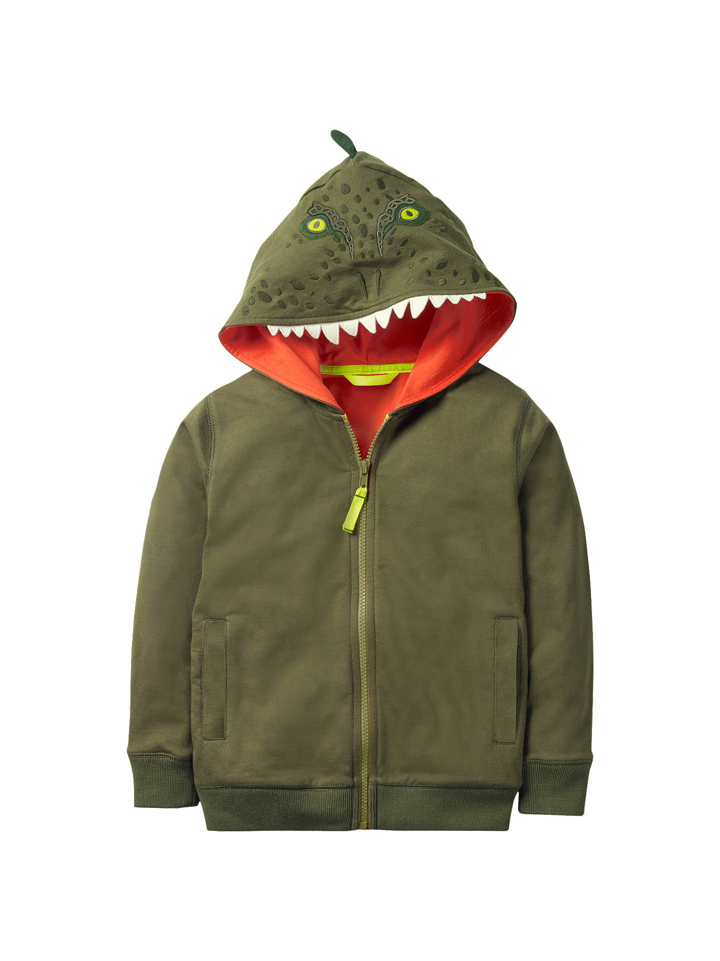 a378fd8fc Buy Mini Boden Boys' Novelty Dinosaur Zip Through Hoodie, Green, 2-3 ...