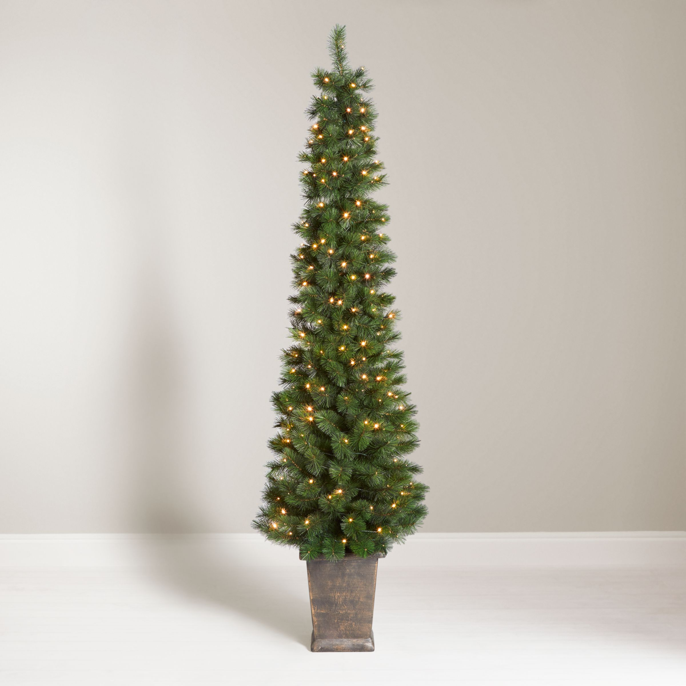 John Lewis Partners Pencil Pine Potted Pre Lit Christmas Tree 5ft At John Lewis Partners