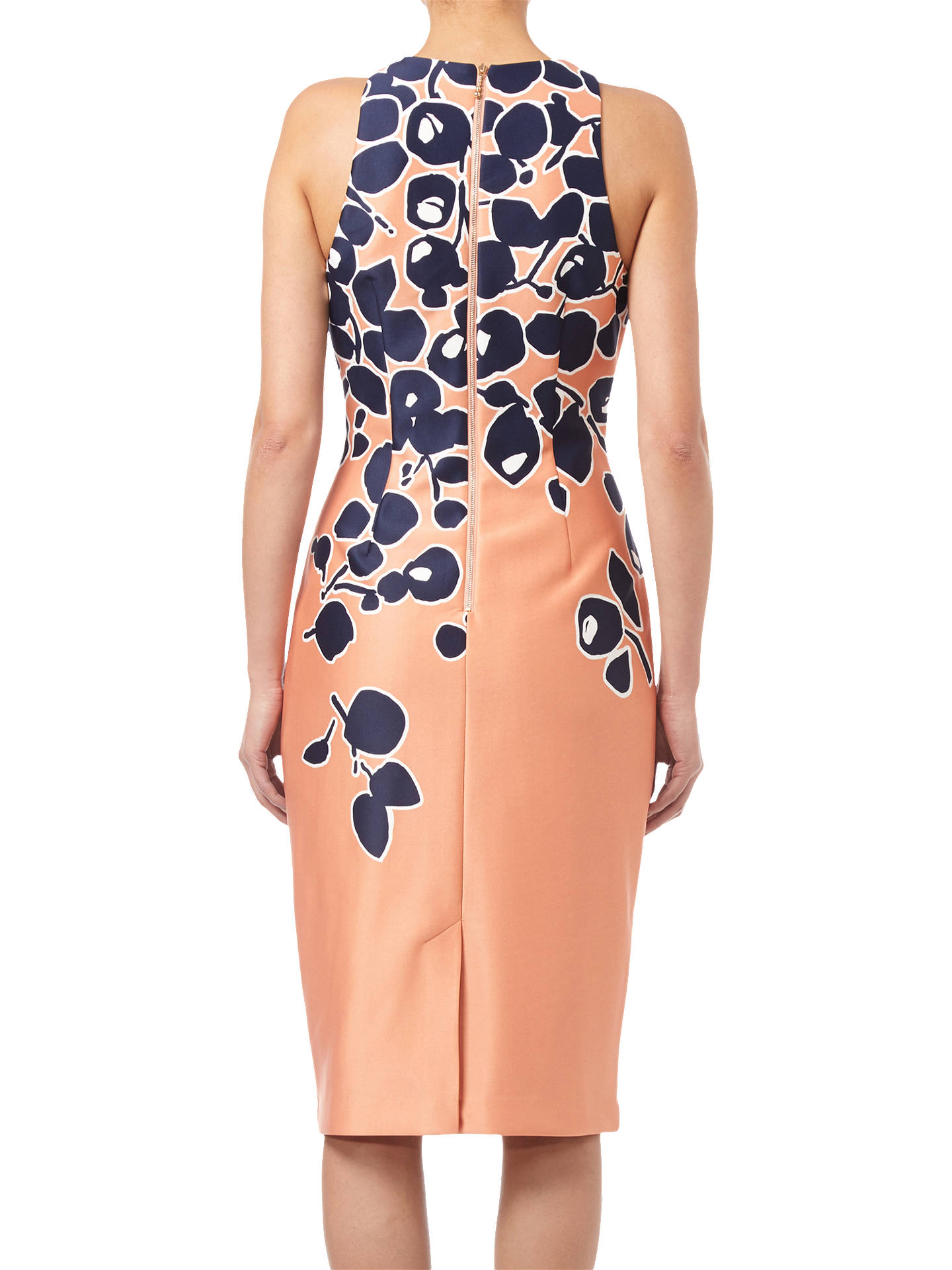 BuyAdrianna Papell Spotted Garden Printed Dress, Apricot/Navy, 8 Online at johnlewis.com