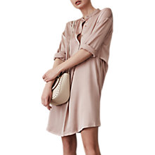 Buy Reiss Maribel Oversized Satin Shirt Dress, Apricot Online at johnlewis.com