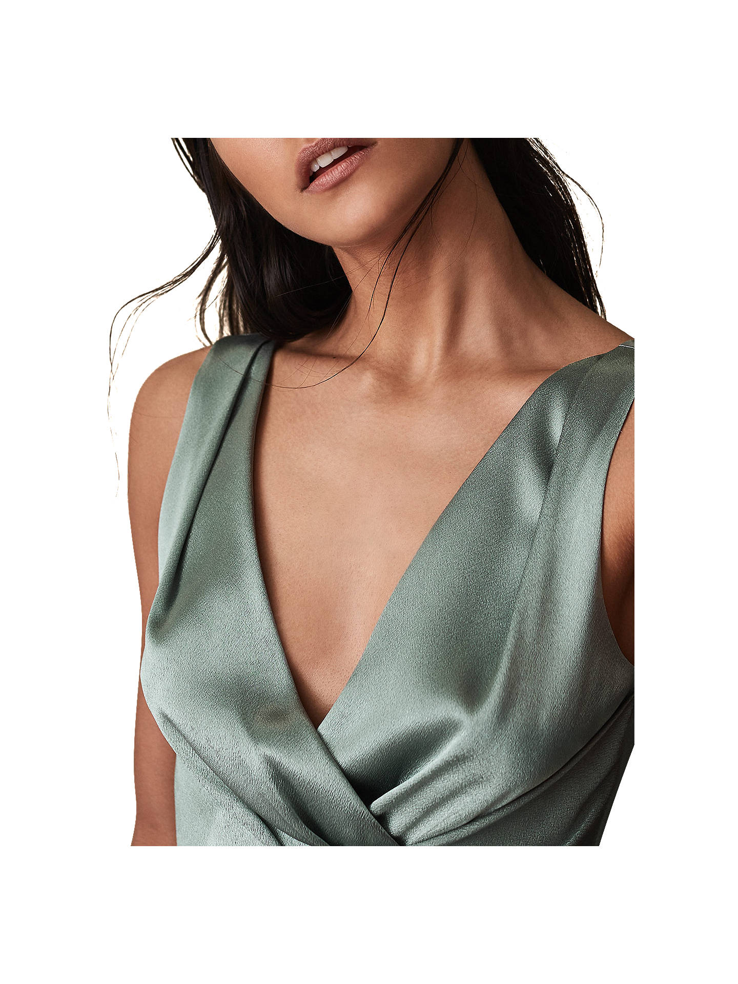 BuyReiss Alicia Satin Pleated Midi Dress, Aquamarine, 6 Online at johnlewis.com