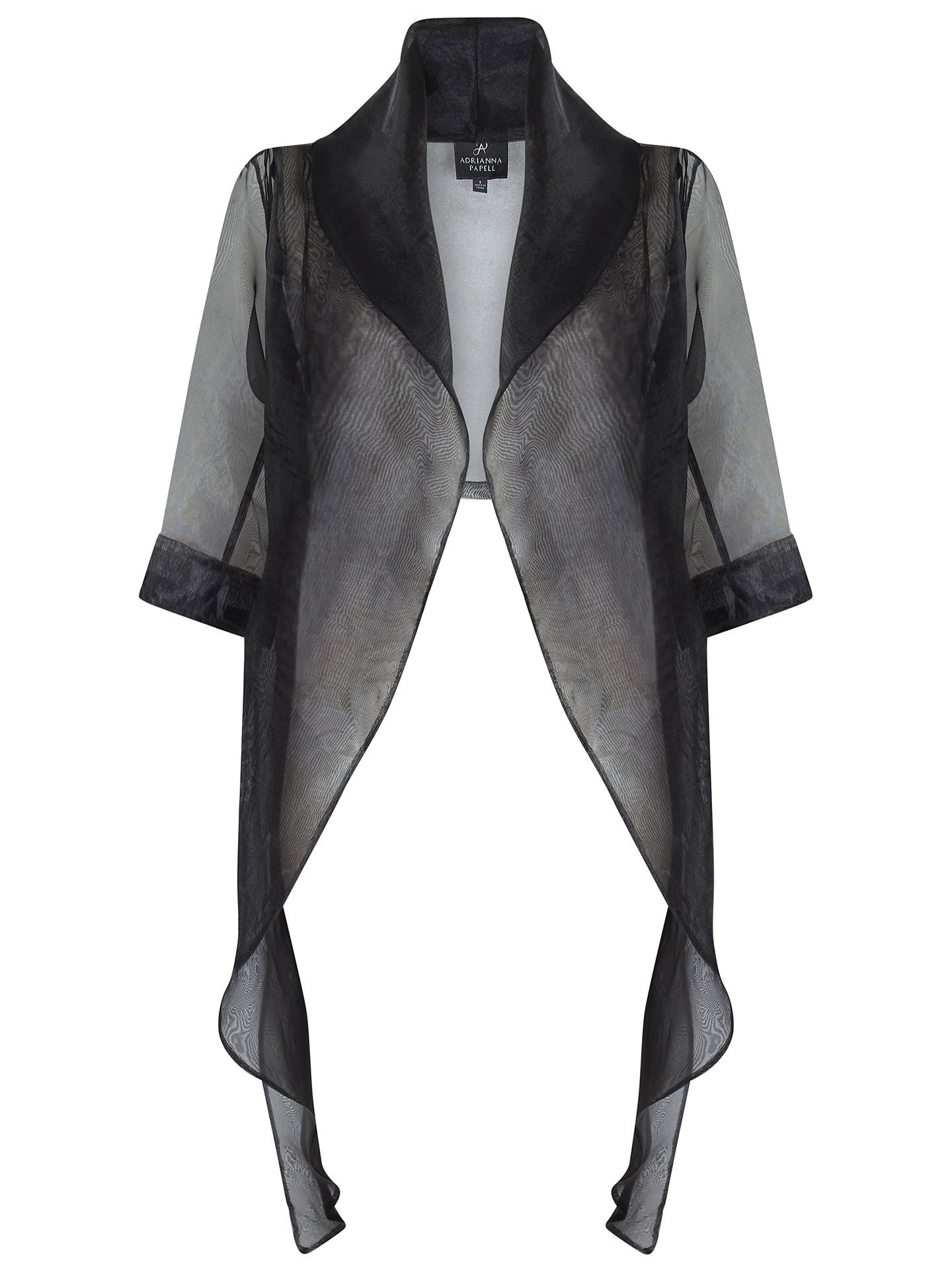 Buy Adrianna Papell Short Sleeve Organza Wrap Jacket, Black, XS Online at johnlewis.com