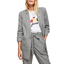Buy Miss Selfridge Check Ruched Sleeve Blazer, Blue/Multi Online at johnlewis.com