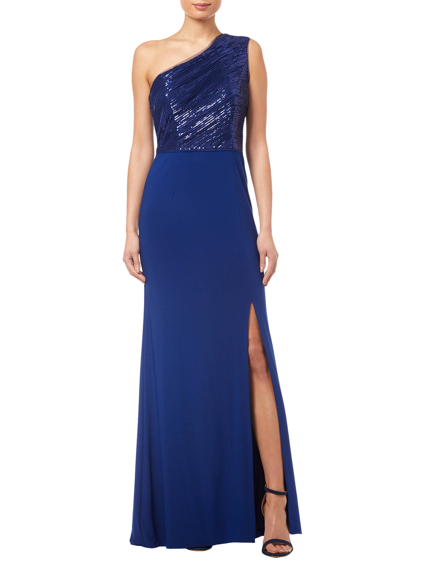 Buy Adrianna Papell Sequin Bodice One Shoulder Gown, Blue Violet, 6 Online at johnlewis.com