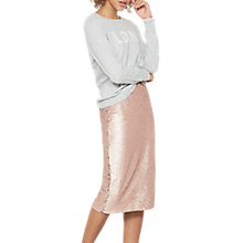 Buy Mint Velvet Blossom Sequin Midi Skirt, Light Pink Online at johnlewis.com