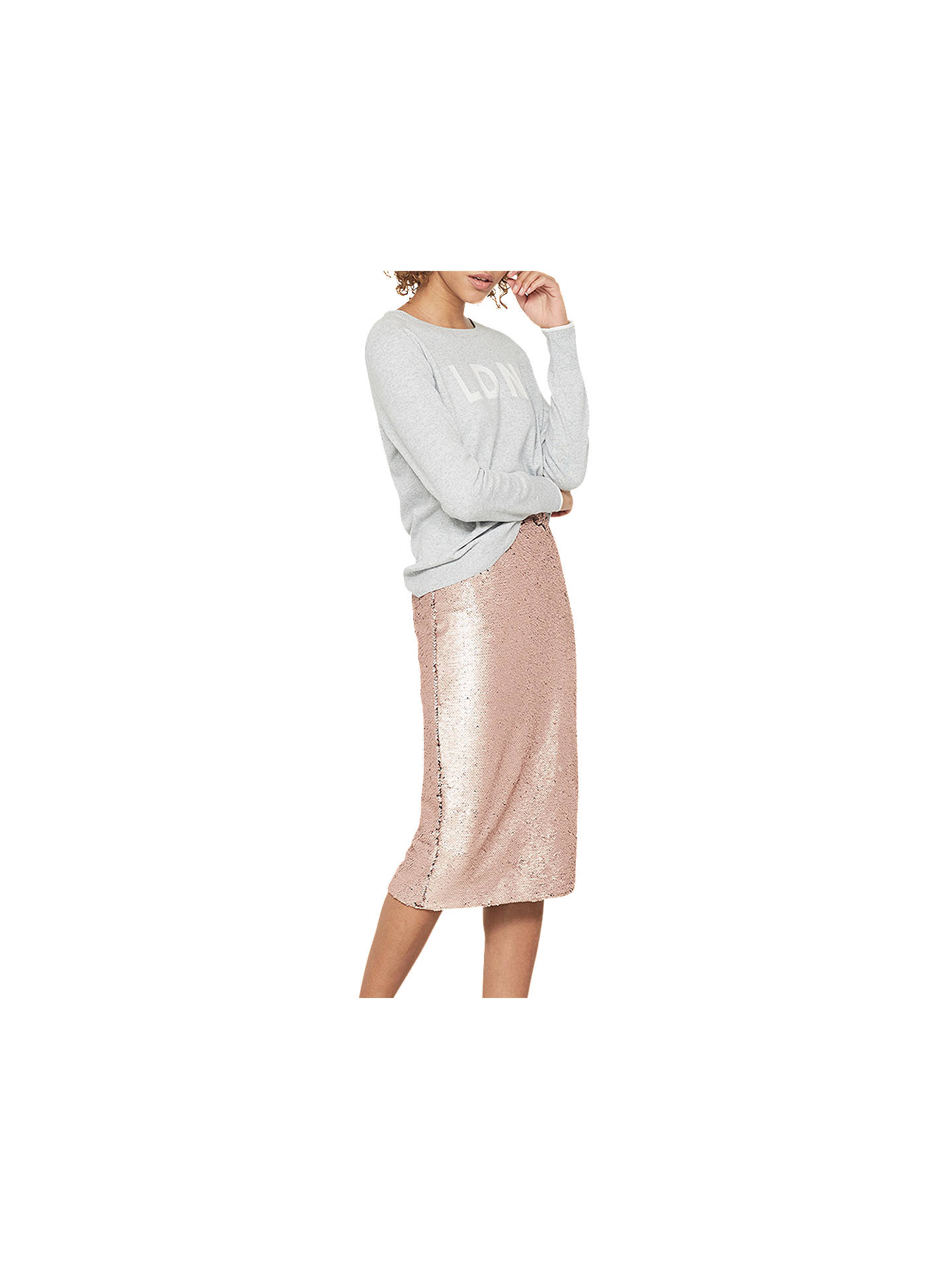 f6fc0fc87 Buy Mint Velvet Blossom Sequin Midi Skirt, Light Pink, 6 Online at  johnlewis.