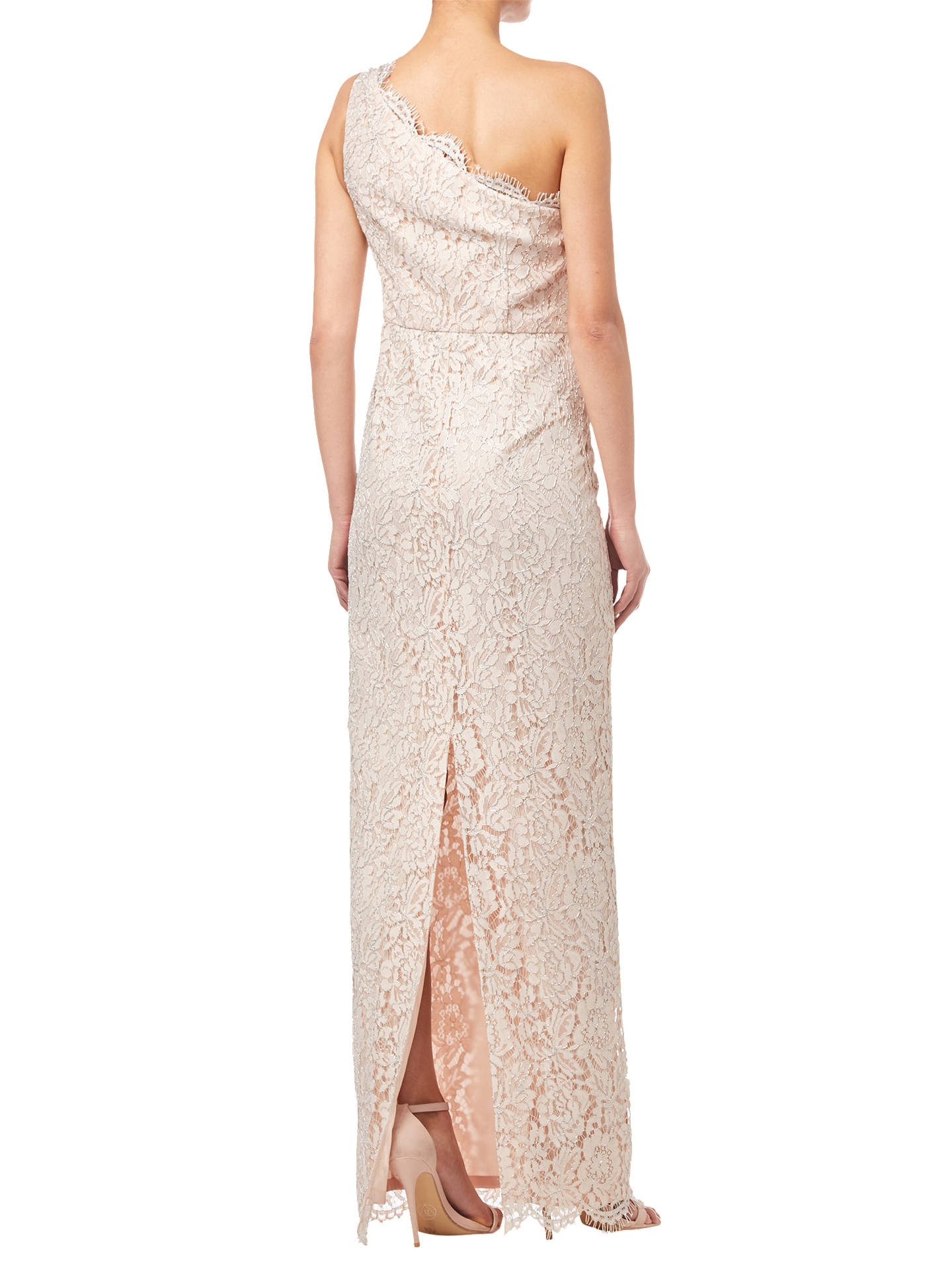 Buy Adrianna Papell One Shoulder Lace Column Dress, Blush, 8 Online at johnlewis.com