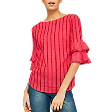 Buy Mint Velvet Frill Cuff Top, Pink Online at johnlewis.com