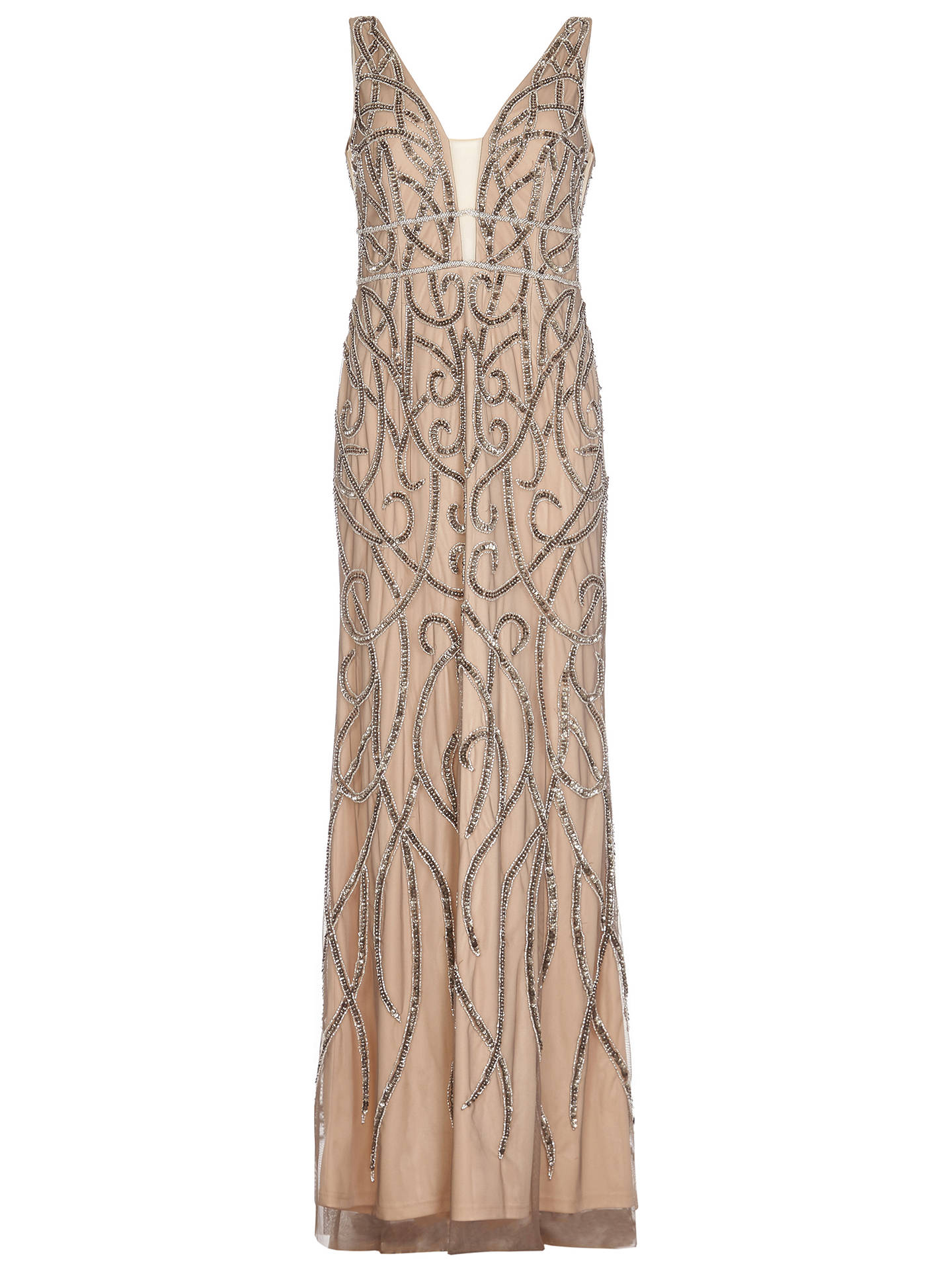 Buy Adrianna Papell Beaded Long Dress, Lead/Nude, 8 Online at johnlewis.com