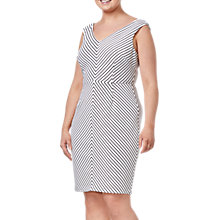 Buy Adrianna Papell Plus Size Striped Dress, Black/Ivory Online at johnlewis.com