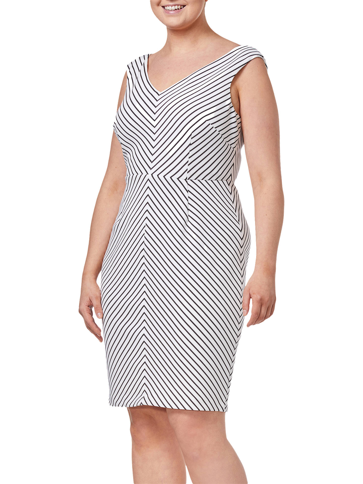 BuyAdrianna Papell Striped Dress, Black/Ivory, 20 Online at johnlewis.com