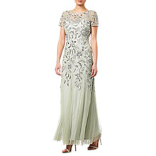 Buy Adrianna Papell Floral Beaded Godet Dress, Mint Online at johnlewis.com