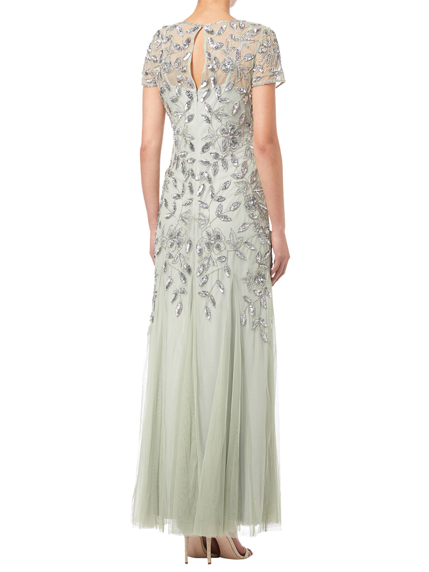 e039864adc ... Buy Adrianna Papell Floral Beaded Godet Dress, Mint, 8 Online at  johnlewis.com ...
