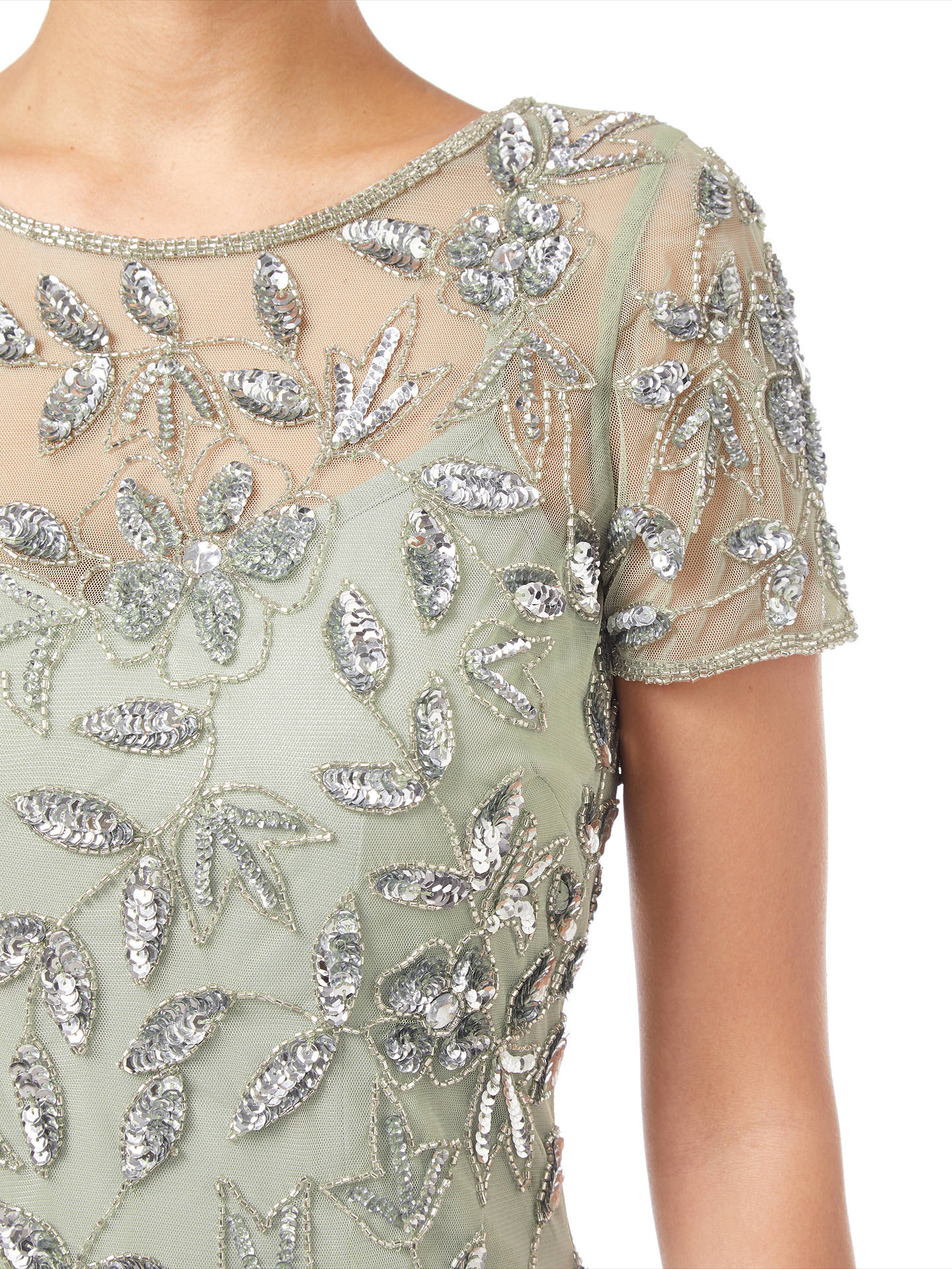 Buy Adrianna Papell Floral Beaded Godet Dress, Mint, 8 Online at johnlewis.com