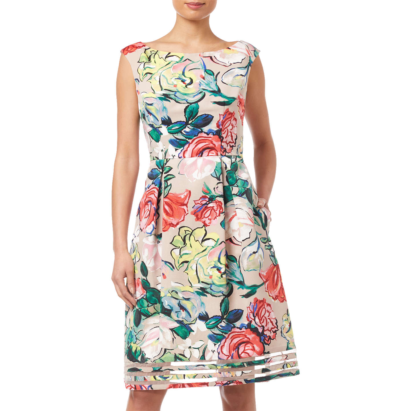 Adrianna Papell Petite Stained Glass Floral Dress, Khaki/Multi at ...