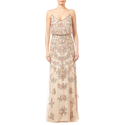 Adrianna Papell Beaded Floral Dress, Nude