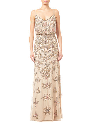Buy Adrianna Papell Beaded Floral Dress, Nude, 8 Online at johnlewis.com