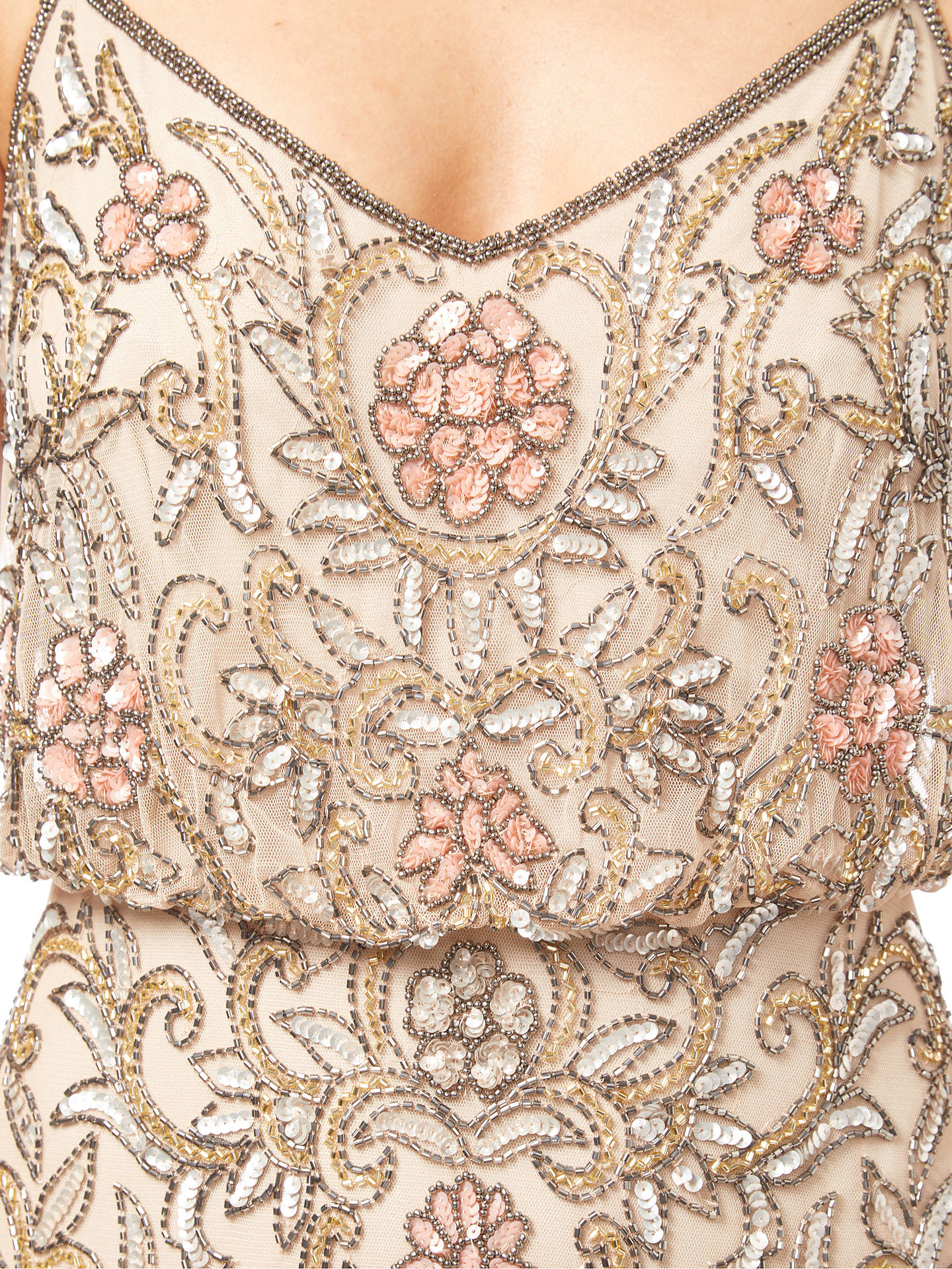 BuyAdrianna Papell Beaded Floral Dress, Nude, 16 Online at johnlewis.com
