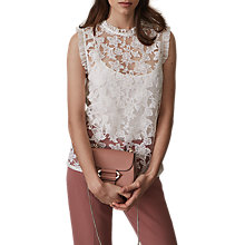 Buy Reiss Marina Sleeveless Lace Frill Top, Off White Online at johnlewis.com