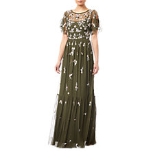 Buy Adrianna Papell Beaded Mesh Dress, Olive Online at johnlewis.com