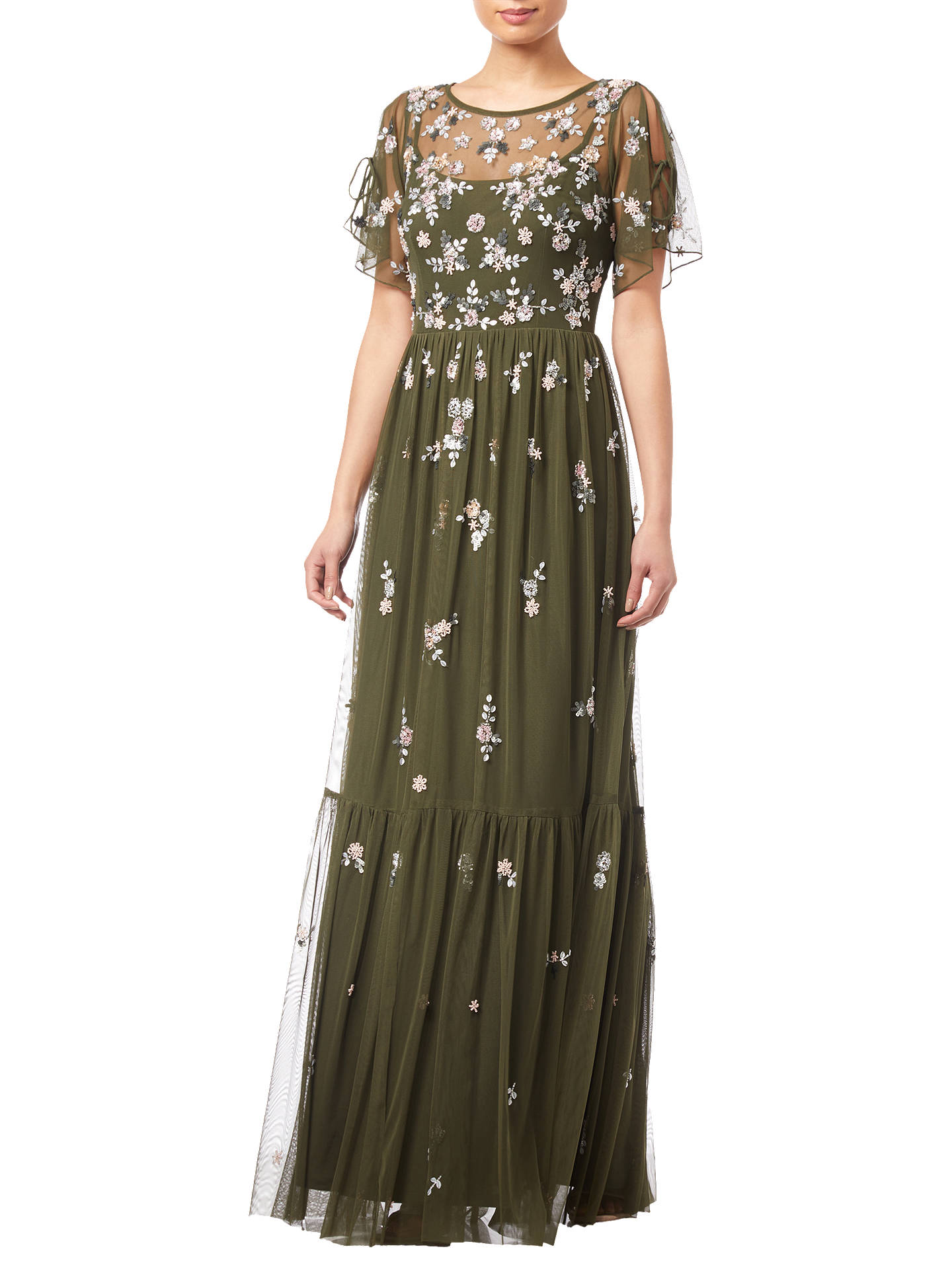 Adrianna Papell Beaded Mesh Dress, Olive at John Lewis & Partners