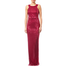 Buy Adrianna Papell Pleated Sequin Dress, Red Plum Online at johnlewis.com