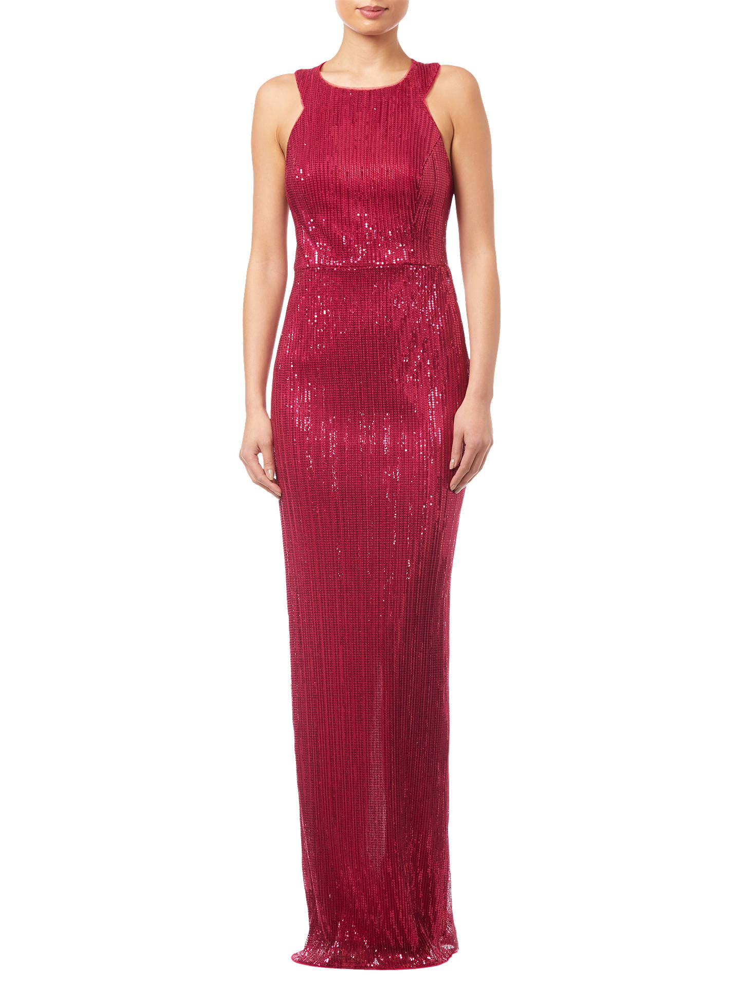 Buy Adrianna Papell Pleated Sequin Dress, Red Plum, 8 Online at johnlewis.com